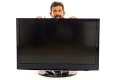 Homme et TV Images libres de droits