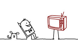 Homme et TV Photos stock