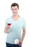 Homme et vin rouge Photos libres de droits