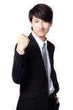 Homme Excited d'affaires affichant son poing Image libre de droits
