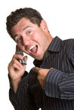 Homme Excited de téléphone Images libres de droits