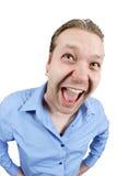 Homme extrêmement excited Image libre de droits