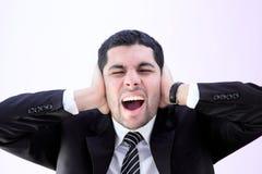 Homme fâché d'affaires criant photographie stock
