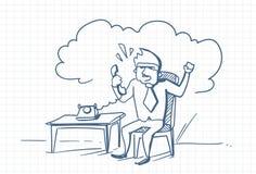 Homme fâché d'affaires parlant au téléphone criant Sit At Office Desk Doodle au-dessus de fond de papier carré Illustration de Vecteur