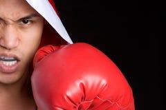 Homme fâché de boxe images stock