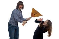 Homme fâché et femme criarde Photos stock