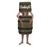 Homme faillite de faillite portant une illustration de baril illustration de vecteur