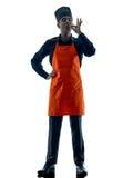 Homme faisant cuire la silhouette de chef d'isolement Photo stock