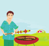 Homme faisant cuire sur son barbecue illustration stock