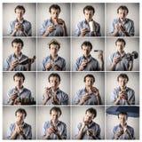 Homme faisant différentes choses Images libres de droits