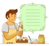 Homme faisant un gâteau Photo stock