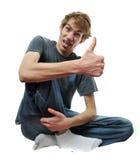 Homme farfelu fol avec des pouces vers le haut Images libres de droits