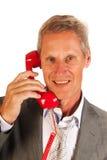 Homme fatigué d'affaires au téléphone Photos libres de droits