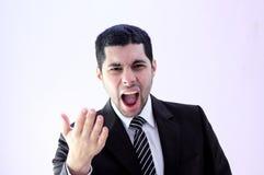 Homme fâché d'affaires criant Photographie stock libre de droits