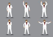 Homme flamboyant dans le jeu de caractères blanc de bande dessinée de vecteur de costume Photos libres de droits
