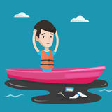 Homme flottant dans un bateau dans l'eau polluée illustration de vecteur