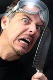 Homme fol avec le couteau Images libres de droits