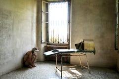 Homme fol dans une maison de fous en Italie Images libres de droits