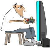 Homme fol jouant des jeux vidéo Images libres de droits
