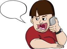 Homme fort de bouche au téléphone Photographie stock libre de droits