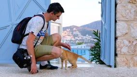 Homme frottant le chat rouge sur la rue banque de vidéos