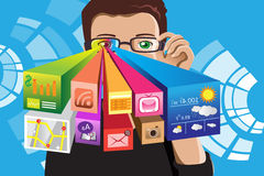 Homme futuriste de technologie illustration stock