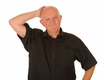 Homme âgé moyen confus Photo libre de droits