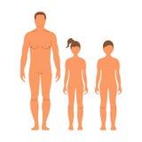 Homme, garçon et fille Silhouette humaine de partie antérieure D'isolement sur le petit morceau Photographie stock