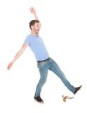 Homme glissant au-dessus du fond blanc Images libres de droits