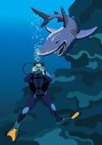 Homme-grenouille et requin Photo libre de droits