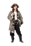 Homme habillé comme pirate. D'isolement image libre de droits