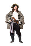 Homme habillé comme pirate. D'isolement images stock