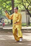 Homme habillé traditionnel pratiquant Tai Chi en parc, Xian, Chine Images libres de droits