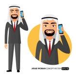 Homme heureux arabe parlant sur le vecteur de téléphone portable à plat d'isolement sur le blanc illustration de vecteur