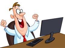 Homme heureux avec l'ordinateur Photo stock