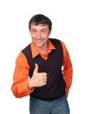 Homme heureux avec le pouce vers le haut Image stock