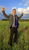 Homme heureux d'affaires Photo stock