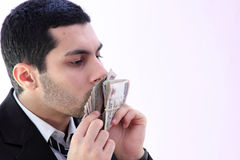 Homme heureux d'affaires avec l'argent Photos stock