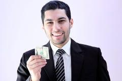 Homme heureux d'affaires avec l'argent Images stock