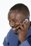 Homme heureux d'affaires sur le portable 1 Photographie stock libre de droits