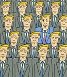 Homme heureux dans la foule triste Images stock