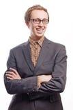 Homme heureux dans le procès avec des glaces Images libres de droits