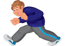 Homme heureux de bande dessinée marchant dans des chaussures de course Image stock