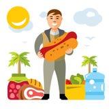 Homme heureux de hippie de vecteur avec le hot-dog Illustration colorée de bande dessinée de style plat Images libres de droits