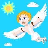 Homme heureux de mouche en ciel bleu Images stock