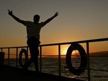 Homme heureux de navigation photo stock