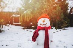 Homme heureux de neige dans le jardin ou l'arrière-cour image stock