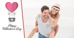Homme heureux donnant sur le dos à la femme sur le fond blanc Photos stock