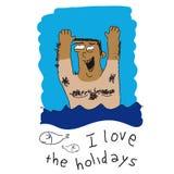 Homme heureux en mer Image libre de droits