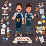 Homme heureux et femmes de barman tenant la tasse et la cruche desig de caractère Photographie stock libre de droits
